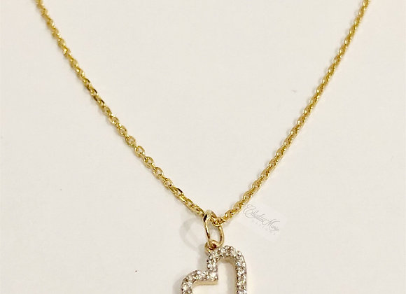 Mini Sideways Diamond Heart Pendant