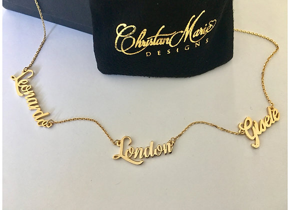 Script Triple Name Necklace