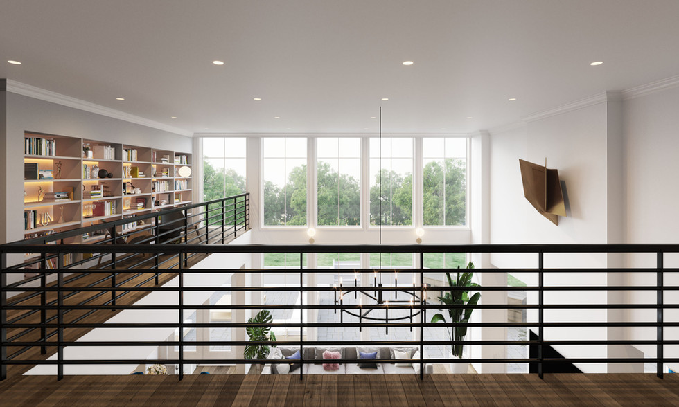 Woodley House interior atrium rendering