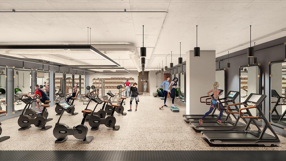 Interior fitness center renovation rendering Franklin Square