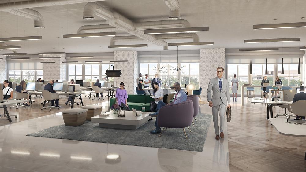 Interior lounge renovation rendering Franklin Square