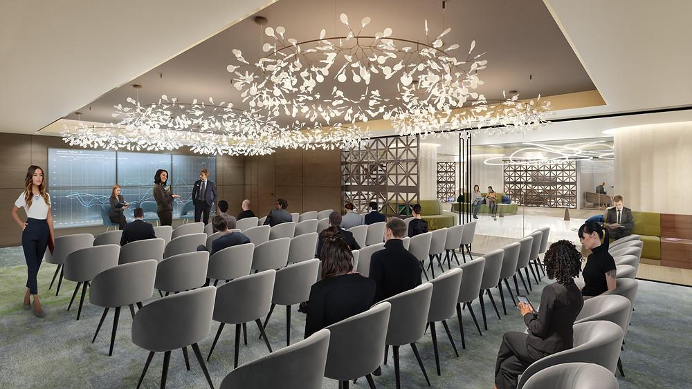 Interior conference room renovation rendering