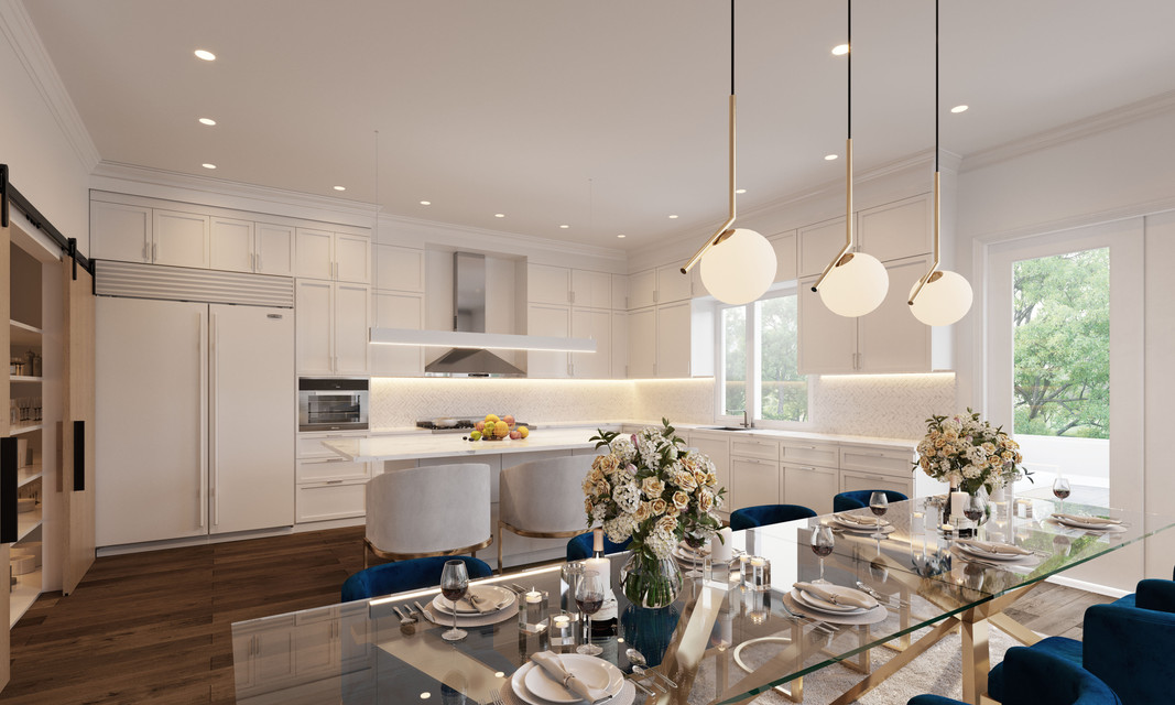 Woodley House interior kitchen rendering