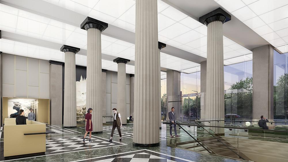 Interior lobby renovation rendering Franklin Square