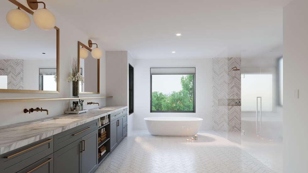 Woodley House interior master bathroom rendering