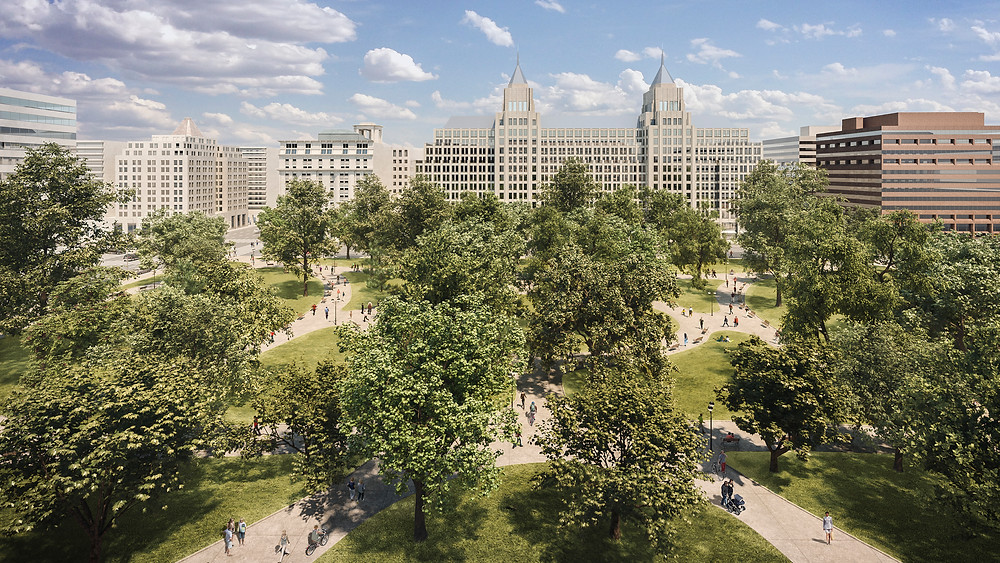 Exterior renovation rendering Franklin Square Park