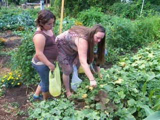 tara & crystal in garden