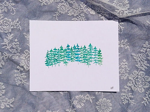 Simple Trees Watercolour Print