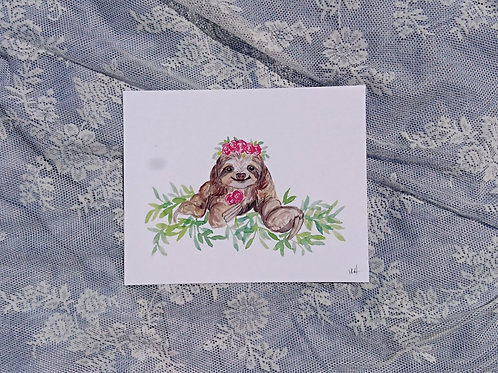 Sloth with Floral Crown Watercolour Print