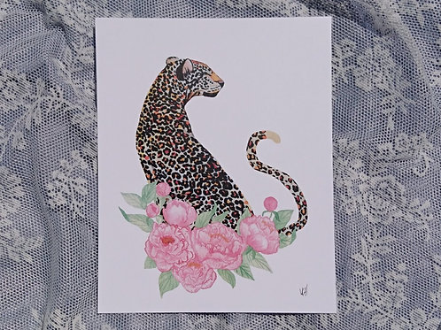Jaguar with Peonies Watercolour Print