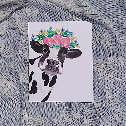 Cow with Floral Crown Watercolour Print