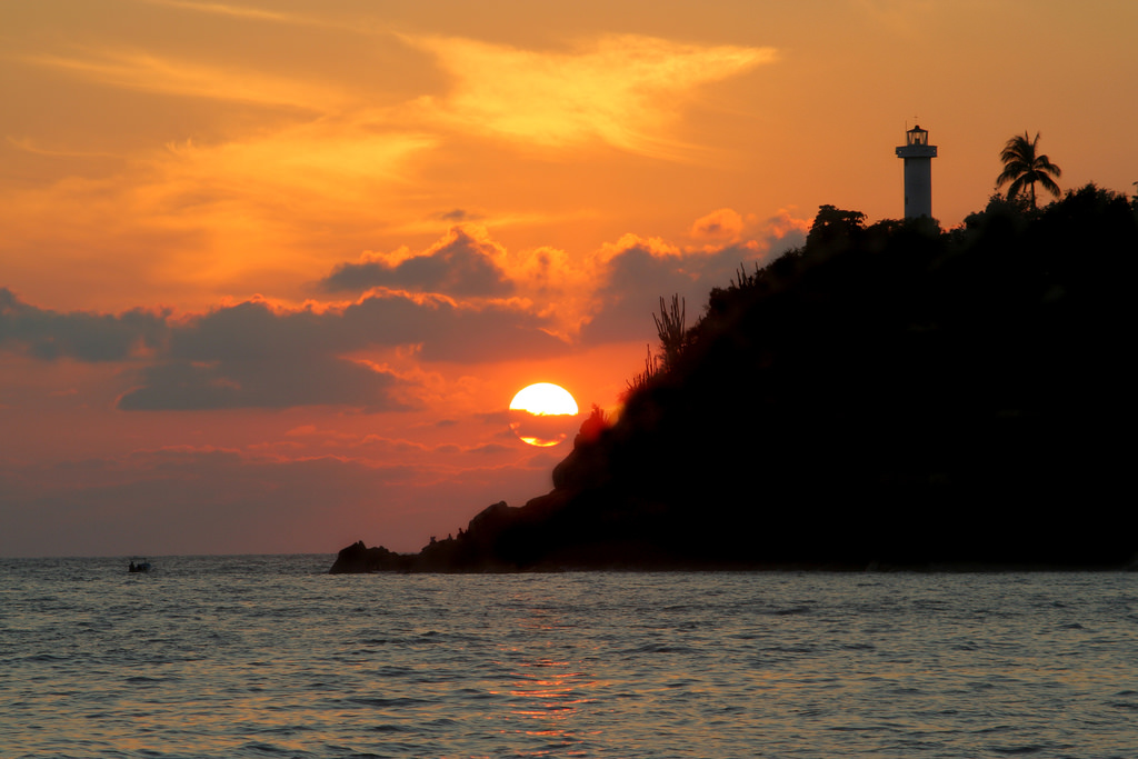 Sunsent and the lighthouse.