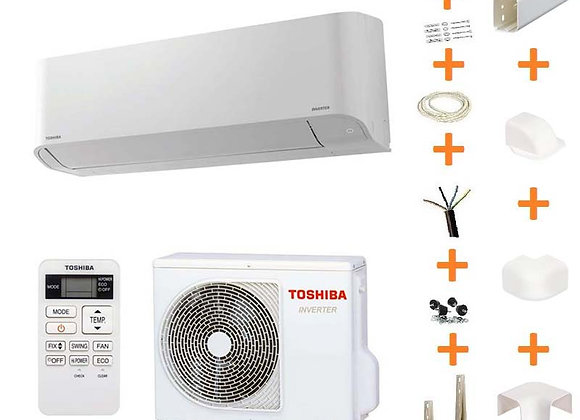Climatiseur réversible Toshiba MIRAI 13 gaz R32 + kit goulottes