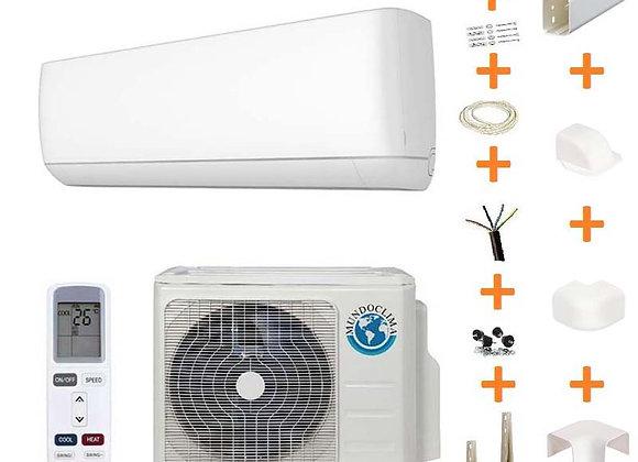 Climatiseur réversible Mundo Clima 09-H8 gaz R32 2.5 kW + kit goulottes