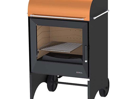 Poêle à bois avec roues 9.5kW Boreal E6001 orange