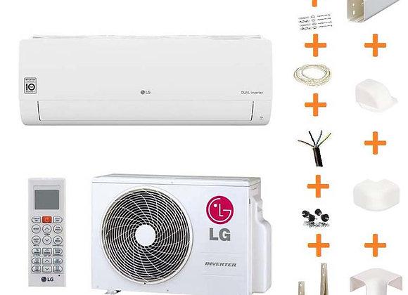 Climatiseur réversible LG Confort S18EQ gaz R32 5.0 kW + kit goulottes