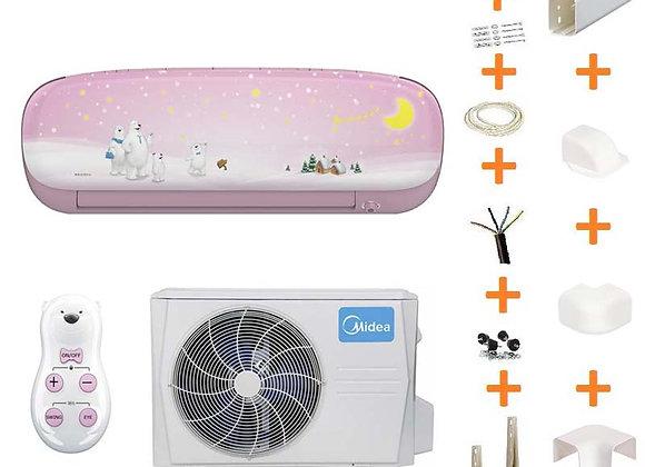 Climatiseur réversible Midea KID STAR 26 PINK + kit goulottes