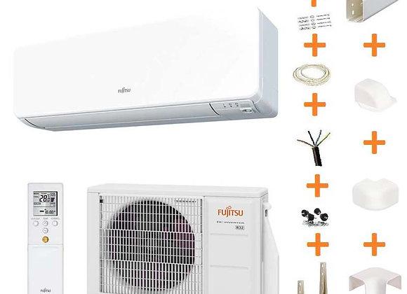 Climatiseur réversible Fujitsu ASY 25 UI-KG gaz R32 2.5 kW + kit goulottes