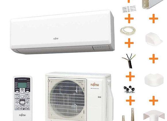 Climatiseur réversible Fujitsu ASY 35 UI-KP gaz R32 3.5 kW + kit goulottes
