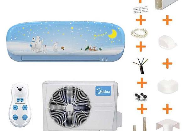 Climatiseur réversible Midea KID STAR 26 BLUE + kit goulottes