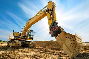 Big excavator on new construction site,