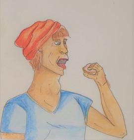 coloured sketch-man eating doughnut
