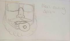 sketch-man eating doughnut