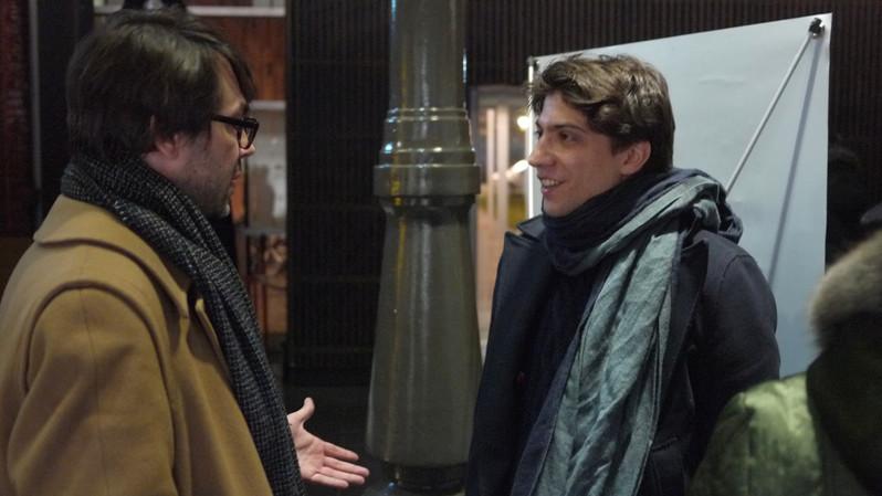 Josquin Otal (France) et le juré Florent Nagel échangent à l'issue des épreuves
