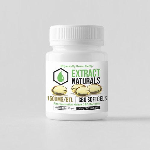 1500 mg CBD 60 Softgels | Clinical Grade | 0% THC | Full Spectrum