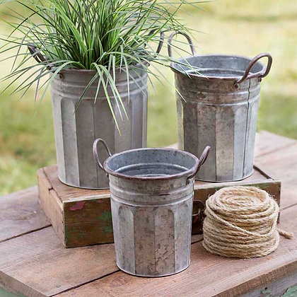 Set of Three Tall Garden Pails with Handles