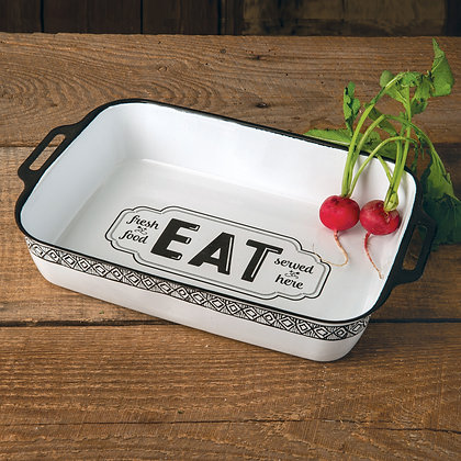 """Eat Fresh Food Served Here"" Rectangle Dish"