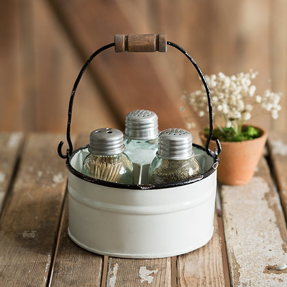 Round Bucket Salt Pepper and Toothpick Caddy