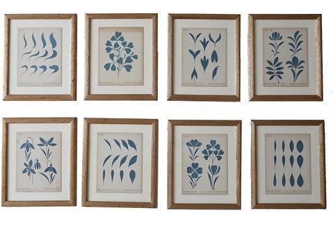 Set of Eight Blue Motif Prints