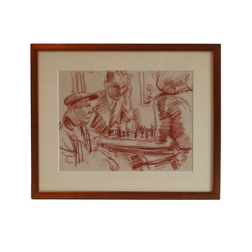 Men Playing Chess, Red Chalk Drawing