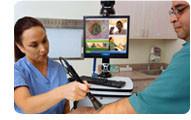 Caméra d'examen reliée à la visioconférence