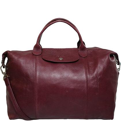Longchamp Pliage Cuir Bordeaux