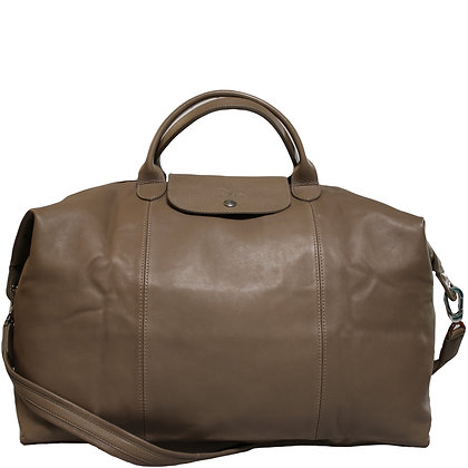 Longchamp Pliage Cuir Taupe