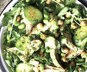 Cucumber & Chickpea Pesto Salad