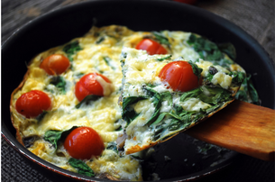 Easy Tomato & Spinach Frittata Recipe