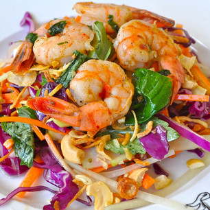 Yummy Asian Cabbage Salad with Grilled Shrimp