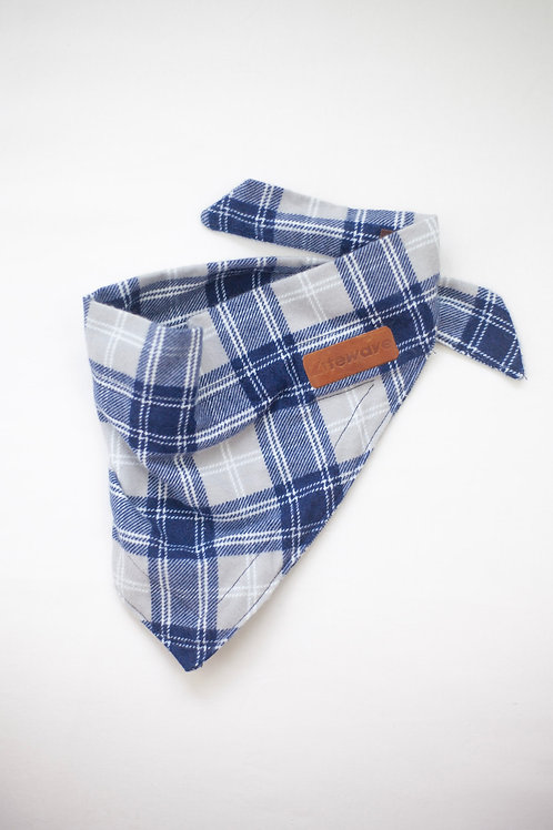 LED Dog Bandana: Blue Plaid
