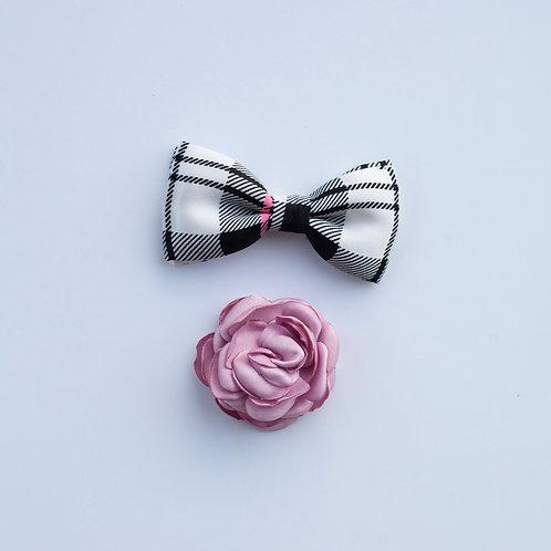 Bowtie / Flower Add-On: Pink / B&W Plaid