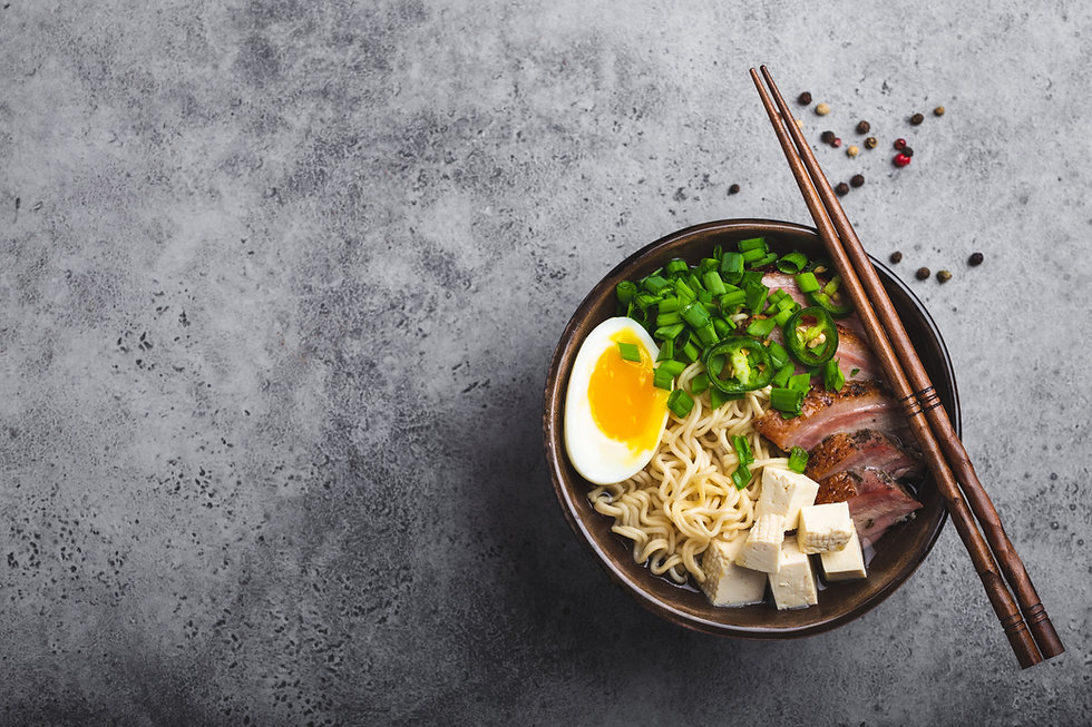 Bowl of tasty Asian noodle soup ramen wi