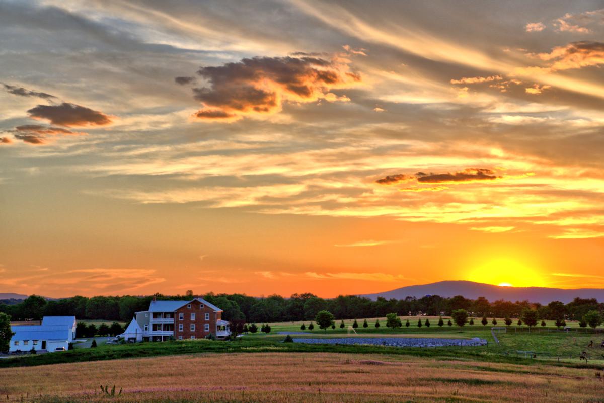Evening Settles On Elmwood Farm