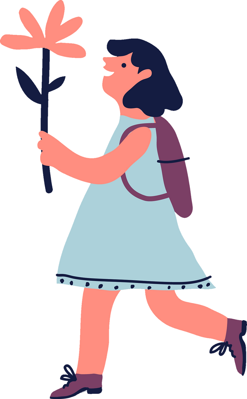 illustration of a girl with a flower