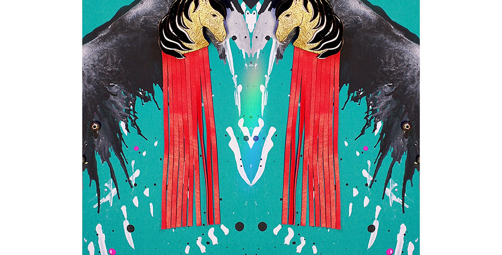Earrings Horses Golden Red