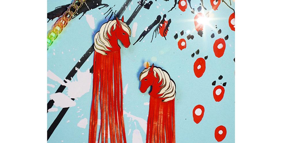 Earrings Horses Red