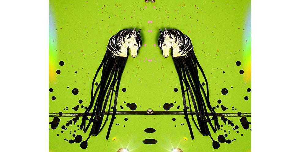 Earrings Horses Black Golden