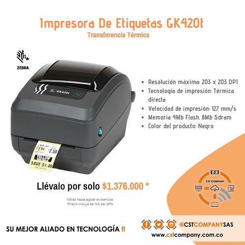 Impresora De Etiquetas GK420t marca Zebra