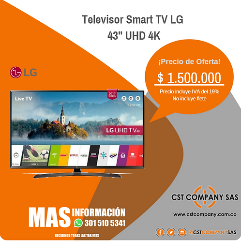 "Televisor Smart TV LG de 43""UHD 4K"